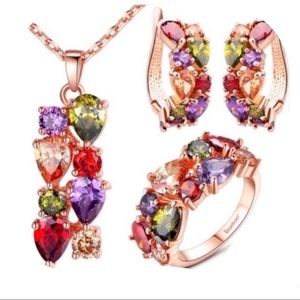 Rose gold plated and colored CZ set